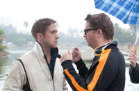 Ryan Gosling and director Nicolas Winding Refn on the set of