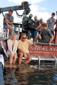 Cinematographer Gary Capo, Sara Paxton and director David Ellis on the set of