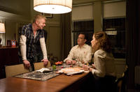 Director Stephen Daldry, Tom Hanks and Sandra Bullock on the set of