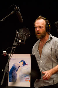 Hugo Weaving on the set of