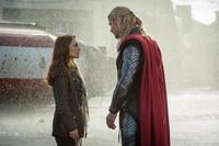 "Natalie Portman as Jane Foster and Chris Hemsworth as Thor in ""Thor: The Dark World."""