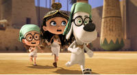 """Sherman voiced by Max Charles, Penny voiced by Ariel Winter and Mr. Peabody voiced by Ty Burell in """"Mr. Peabody & Sherman."""""""
