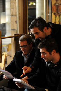 Francois Cluzet, director Eric Toledano and director Olivier Nakache on the set of