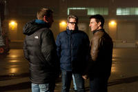 """Executive producer David Ellison, director Christopher McQuarrie and Tom Cruise on the set of """"Jack Reacher."""""""