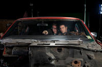 """Director Christopher McQuarrie and Tom Cruise on the set of """"Jack Reacher."""""""