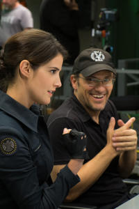 Cobie Smulders and director Anthony Russo on the set of