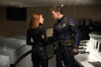 Scarlett Johansson as Black Widow and Chris Evans as Captain America in