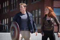 Chris Evans as Captain America and Scarlett Johansson as Black Widow in
