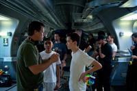 Director Gavin Hood, Suraj Partha and Asa Butterfield on the set of