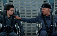 Asa Butterfield and Harrison Ford in