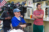 Director Dennis Dugan and Adam Sandler on the set of