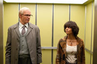 James D'Arcy as Old Rufus Sixsmith and Halle Berry as Luisa Rey in