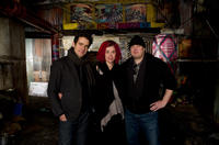 Directors Tom Tykwer, Lana Wachowski and Andy Wachowski on the set of