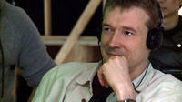 Author David Mitchell on the set of