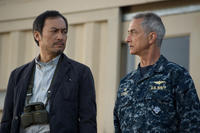 Ken Watanabe as Dr. Ishiro Serizawa and David Strathairn as Adm. William Stenz in