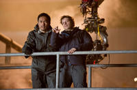 Ken Watanabe and director Gareth Edwards on the set of