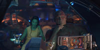 Zoe Saldana as Gamora and David Bautista as Drax the Destroyer in