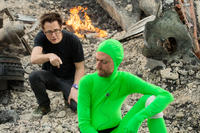 Director James Gunn and Sean Gunn on the set of