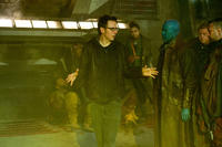 Director James Gunn, Michael Rooker and Sean Gunn on the set of
