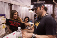Sofia Vergara and director Robert Rodriguez on the set of