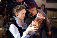 Vera Farmiga and director James Wan on the set of