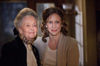 Lorraine Warren and Vera Farmiga on the set of
