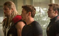 Chris Hemsworth as Thor, Robert Downey, Jr. as Tony Stark and Chris Evans as Captain America in