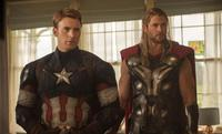 Chris Evans as Captain America and Chris Hemsworth as Thor in