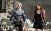 Aaron Taylor-Johnson as Quicksilver and Elizabeth Olsen as Scarlet Witch in