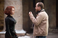 Scarlett Johansson and director Joss Whedon on the set of