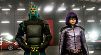 Aaron Taylor-Johnson as Kick-Ass and Chloe Grace Moretz as Hit-Girl in