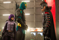 Chloe Grace Moretz as Hit-Girl, Aaron Taylor-Johnson as Kick-Ass and Christopher Mintz-Plasse as The Motherf-ker in