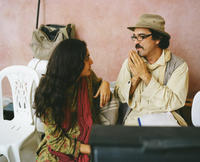Golshifteh Farahani and director Atiq Rahimi on the set of