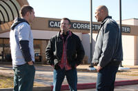 Jon Bernthal, director Ric Roman Waugh and Dwayne Johnson on the set of