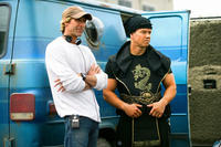 Director Michael Bay and Mark Wahlberg on the set of