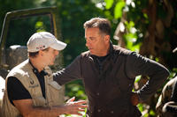 Director Damian Lee and Andy Garcia on the set of