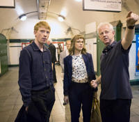 Domhnall Gleeson, Rachel McAdams and director Richard Curtis on the set of