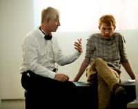 Director Richard Curtis and Domhnall Gleeson on the set of