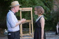 Director Richard Curtis and Rachel McAdams on the set of