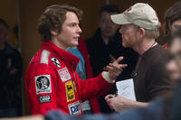 Daniel Bruhl and director Ron Howard on the set of