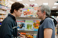 Nat Wolff and director Paul Weitz on the set of