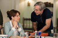 Tina Fey and director Paul Weitz on the set of