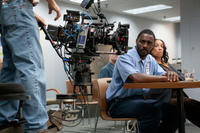 Idris Elba on the set of