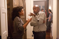 Taraji P. Henson and producer William Packer on the set of