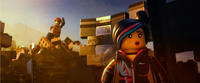 Emmet voiced by Chris Pratt and Wyldstyle voiced by Elizabeth Banks in