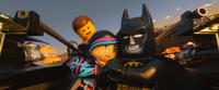 Emmet voiced by Chris Pratt, Wyldstyle voiced by Elizabeth Banks and Batman voiced by Will Arnett in