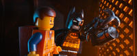 Emmet voiced by Chris Pratt and Batman voiced by Will Arnett in