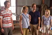 Will Poulter as Kenny Rossmore, Jennifer Aniston as Rose O'Reilly, Jason Sudeikis as David Clark and Emma Roberts in