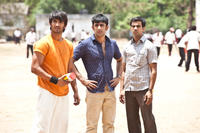 Sushant Singh Rajput as Ishaan, Amit Sadh as Omi and Raj Kumar Yadav as Govind in