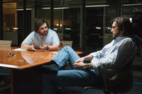 Josh Gad as Steve Wozniak and Ashton Kutcher as Steve Jobs in